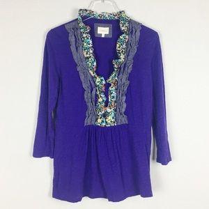 Deletta | Purple pleated ruffle blouse | L